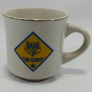 Vintage Gold Rim Cub Scouts Boys Mug Cup Logo